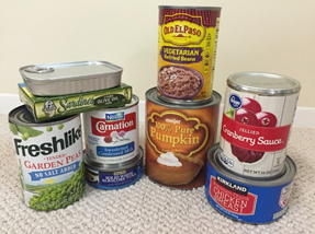 Picture of canned goods. Visocisty control and coating technology make tin cans more effective.