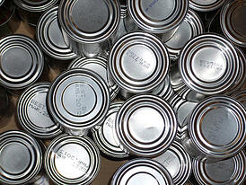 image of tin cans.