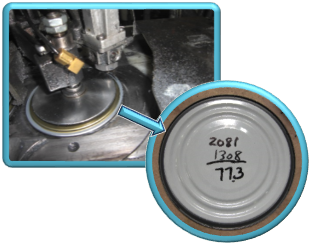 Image of can sealant lining process. Coating technology viscosity manufacturing process.